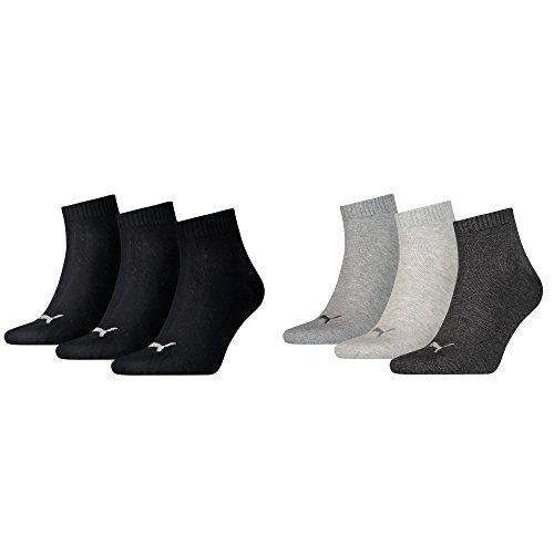Unisex Quarters Socken Sportsocken 6er Pack (3x Black 3x Anthrazit, 6 Paar - Gr- 43-46)