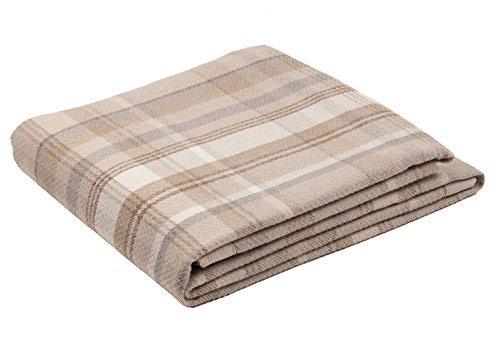 McAlister Textiles Heritage Couverture à Motif Tartan à Carreaux | Luxe Chemin de Lit, Canapé et Fauteuil en Laine - Accessoire - 50x240cm | Couleur Beige Marron