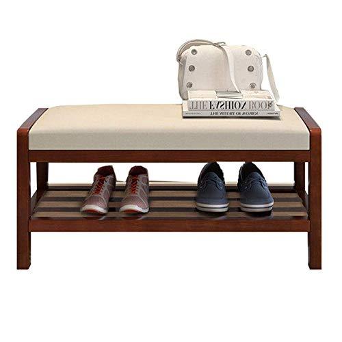 FSYGZJ Cambie el Taburete para Zapatos, Banco Armario para Zapatos de diseño Moderno Armario para Zapatos de Madera Armario para Almacenamiento en el Pasillo Unidad organizadora (Color: Color Nogal