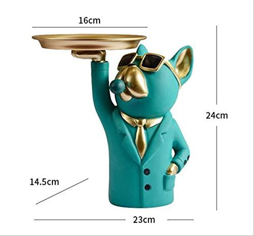 Venuy Caja de Almacenamiento de estatuilla de Bulldog Cool nórdica, Accesorios de decoración del hogar, Adorno de Escultura artística de Resina