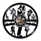 wtnhz LED Reloj de Pared de Vinilo Colorido Disco de Vinilo Reloj de Pared diseño Moderno Tema Musical Rey del Reloj de música Pop Reloj de Pared decoración del hogar Regalo para Hombres