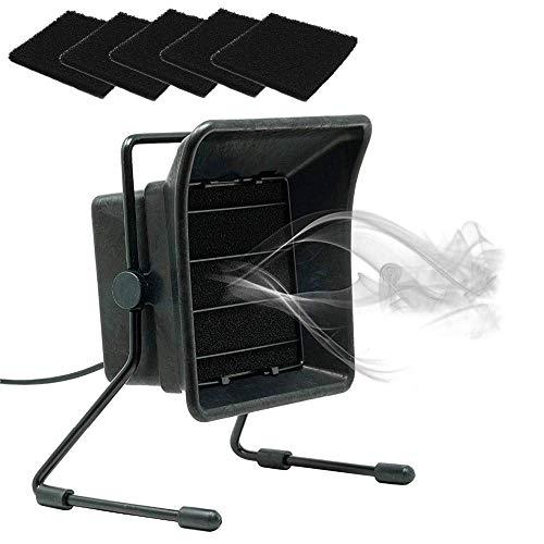 Absorbedor de humo de soldadura, ventilador de escape con filtro de aire de humos de flujo de sobremesa, extractor de humos portátil de ángulo ajustable con filtro de carbón activado para estación de
