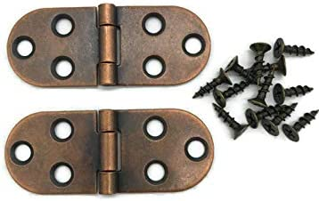Rounded Antique Copper Sewing Machine Hinge 2 Pc Pack Old Furniture Reproduction Hardware HSM product image