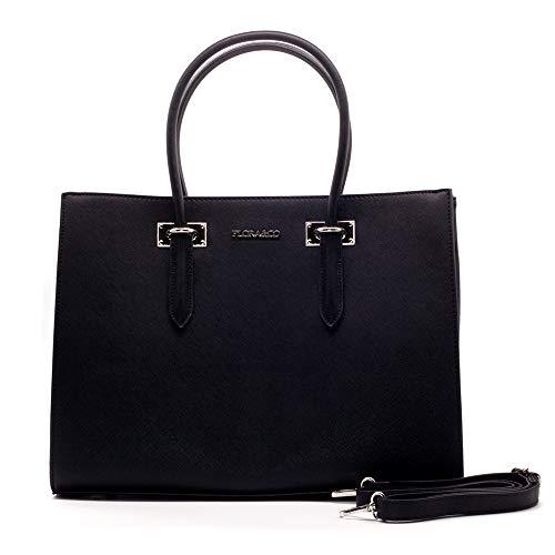 Flora&Co Handtasche Damen Arbeit Shopper Tasche Elegant Henkeltasche für für Büro Schule Einkauf (6316-Schwarz)