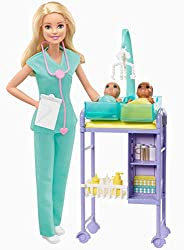 "​You can be a baby doctor with the Barbie Baby Doctor playset ​Includes baby doctor environment with Barbie Baby Doctor doll, 2 adorable baby doll patients and toy play pieces for examinations and caretaking. ​Wearing light green ""scrubs,"" and with a..."