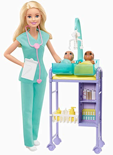 Barbie Baby Doctor Playset with Blonde Doll, 2 Infant Dolls, Toy Pieces, Multi