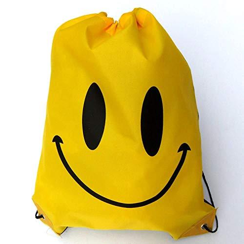 Zerrale Kordelzug Taschen Männer und Frauen Kinder Schulter Schwimmen Rucksack Smiley-Gesicht Kordelzug Aufbewahrungstasche Sport im Freien Freizeit Cartoon Strandtasche,rot,gelb