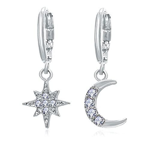Mode klassieke geometrische vrouwelijke hanger asymmetrische ster-maan oorbellen vrouwelijke Koreaanse sieraden-zilver