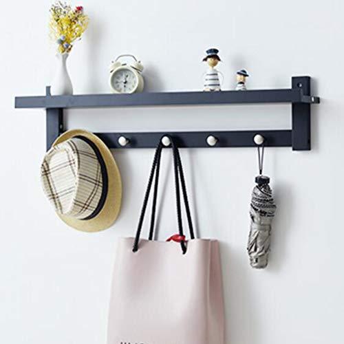 Wand-gemonteerde kapstok, met plank, metalen haken, draagbaar, voor slaapkamer, woonkamer, hal of badkamer 80x18cm(31x7inch) zwart