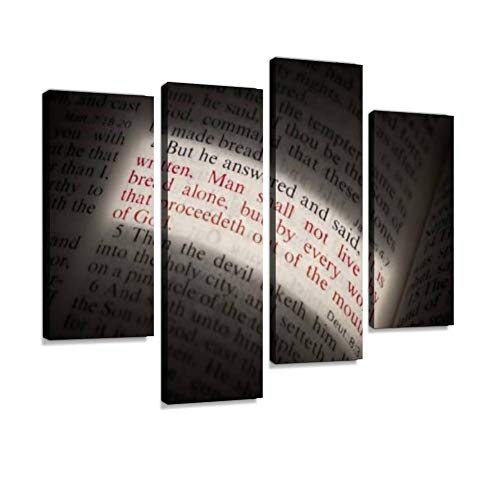 IGOONE 4 Panels Canvas Paintings - Man Shall Not Live on Bread Alone Bible Scripture Illuminated on Page - Wall Art Modern Posters Framed Ready to Hang for Home Wall Decor