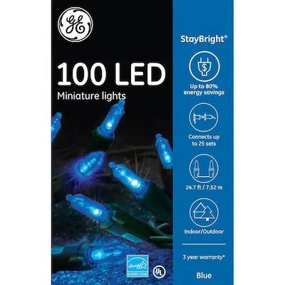 Staybright GE 90834LO 100-Count LED 5.5-MM Blue Christmas String Lights Energy Star