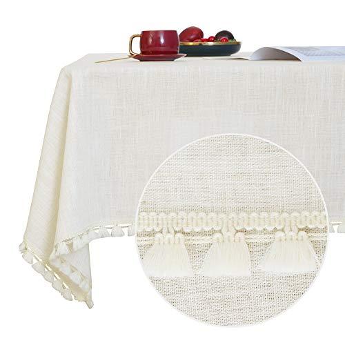 Deconovo Leinenoptik Tischtücher Quaste Tischwäsche Wasserabweisend 140x300 cm Creme
