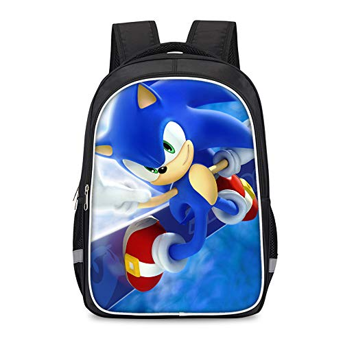 Sonic The Hedgehog Backpack Trekking Backpack Daypack Schoolbag for Boy and Girl Fashion Laptop and Notebook Outdoor Trave Casual Kids (Color : A08, Size : 30 X 17 X 42cm)