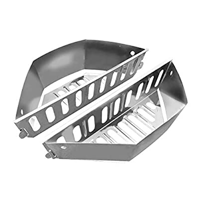 "GRILLVANA Stainless Steel Charcoal Basket- BBQ Grilling Accessories for Grills and 22"" Kettles- Heavy Duty Char-Basket for Briquette, Wood Chips- Charcoal Grill Accessories (Set of 2)"