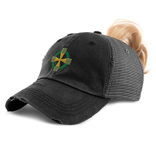 Womens Ponytail Cap Celtic Cross B Embroidery Cotton Messy Bun Distressed Trucker Hats Strap Closure Black Design Only