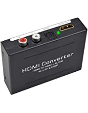 Keyixing 1080P HDMI Audio Extractor HDMI a HDMI + Toslink óptico SPDIF + analógico RCA L/R Stereo Audio Video Convertidor Adaptador para Blu Ray Player PS3 PS4