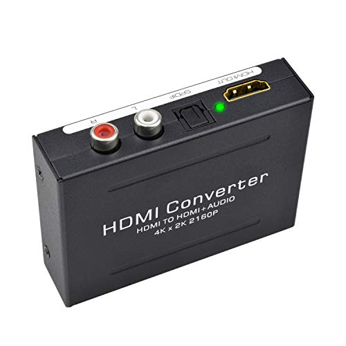 Kiyicjk 1080P HDMI - Estrattore audio HDMI a HDMI + TOSLINK SPDIF ottico + convertitore audio RCA analogico L/R stereo adattatore per lettore Bluray PS3 PS4
