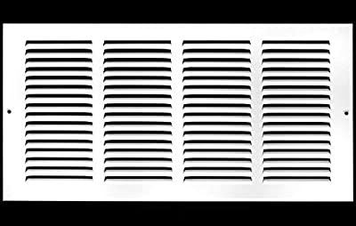 "18""w X 6""h Steel Return Air Grilles - Sidewall and Ceiling - HVAC Duct Cover - White [Outer Dimensions: 19.75""w X 7.75""h]"