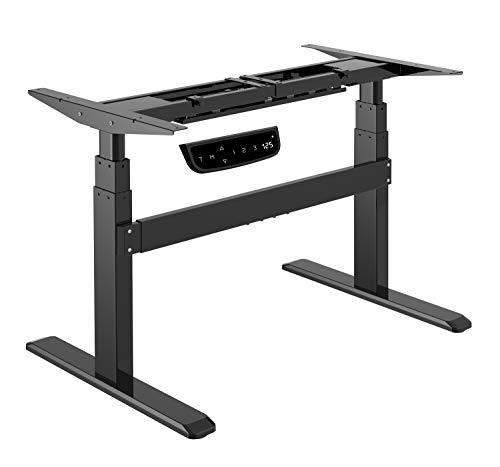 Exeta Elektrisch höhenverstellbarer Schreibtisch (Vers. 2020) mit 2 Motoren, 3-fach-Teleskop,Memory-Funkt./Softstart/-Stopp, elektrisch höhenverstellbares Tischgestell black für gängige Tischplatten