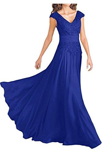 Ever Girl Women's Deep V-Neck Cap Sleeves Long Chiffon Mother of Bride Dresses Royal Blue US14