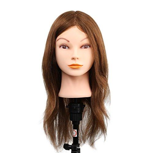 100% Cheveux Naturels Mannequin Tête Femme De Mannequin 100% Cheveux Naturels Mannequin Pour Coiffeur Cheveux 18 Inch Cosmétologie Poupée Tête Avec Le Support