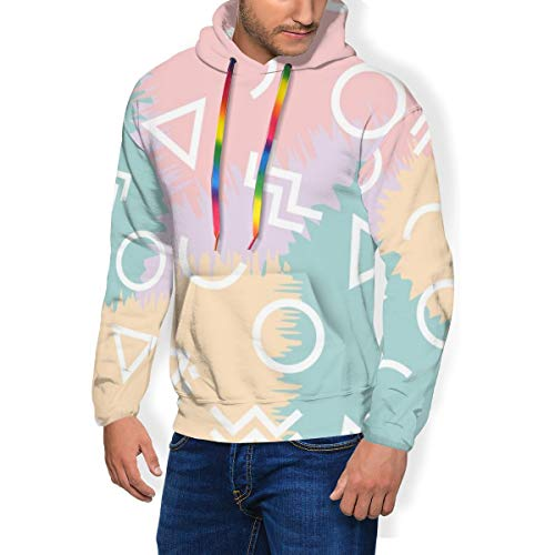 Small Geometric Fleece Hoodies Sweatshirt, Unisex Novelty 3D Printed Pullover Fleece Hooded Long-Sleeve Sweatshirt Black