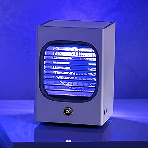wsbdking Refrigerador de Aire portátil, Mini humidificador de Niebla fría, Ventilador de Aire Acondicionado silencioso de 3 velocidades, Pantalla LED + luz de Noche Suave, Dormitorio de Oficina en el