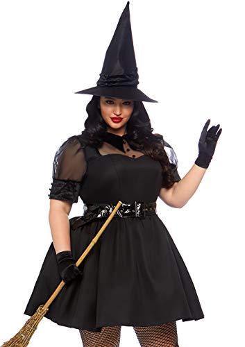 Leg Avenue Women's Plus Size Bewitching Witch, Black, 1X-2X