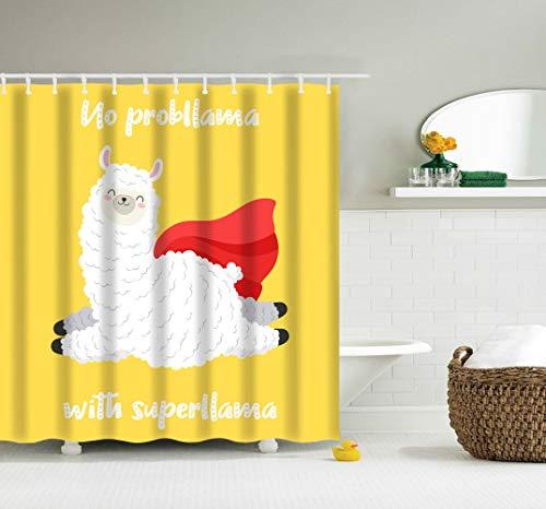 Duschvorhang Llama-Alpaka kein Problem mit Superlama-Thema lächelndes Lama springt mit rotem Umhang Umhang gelber Hintergr& weiß weich Badezimmer Dekor wasserdicht Badvorhang-Set mit Haken hellgelb
