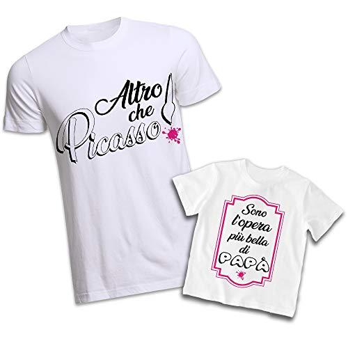 Coppia di T-Shirt Personalizzate per Padre e Figlio Magliette per la Festa del papà Altro Che Picasso (Uomo L - Bimbo 5-6, Bianco)