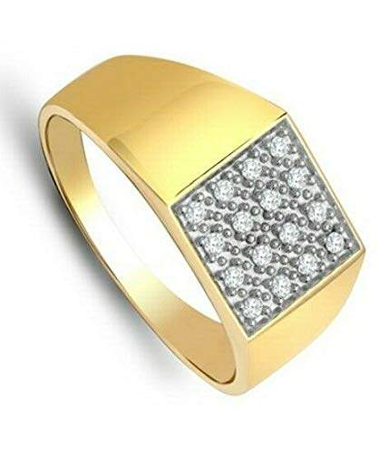 Gents Diamond Ring 9K Yellow Gold Men's Engagement Cluster Signet British Made / Size: R