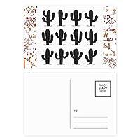 サボテン多肉植物パターンのシルエット 公式ポストカードセットサンクスカード郵送側20個