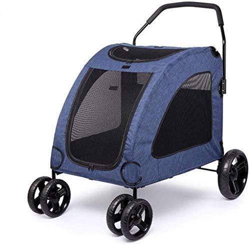 ZUQIEE Cochecito del Animal doméstico de Viaje for Mascotas Perros pequeños Gigante Cart lesionado Viajes Viejo Perro múltiple Plegable (Color : Blue)