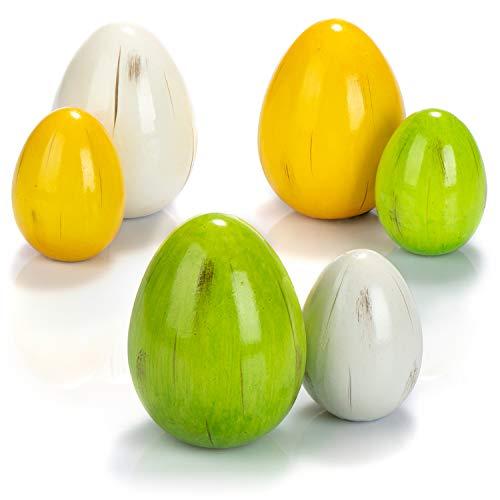 com-four® Oeufs en céramique 6X - Oeufs de Pâques de différentes Couleurs et Tailles - Décoration de Pâques pour l'extérieur et l'intérieur (06 pièces - œuf en céramique 6,5 cm + 8,5 cm)