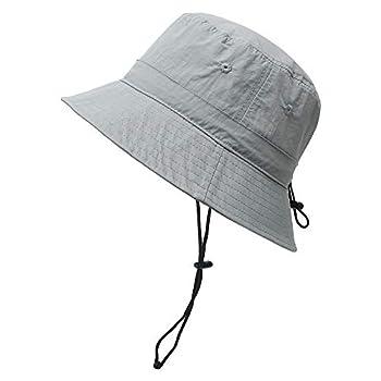 Women Bucket Sun-Hat - with Chin-Strap Quick Dry Sun Rain Protection Hat Light Gray