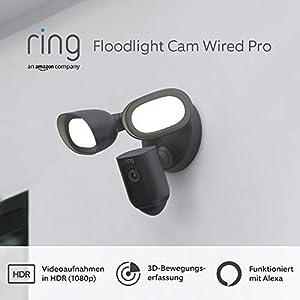 Wir stellen vor: Ring Floodlight Cam Wired Pro von Amazon, Videoaufnahmen in HDR, 3D-Bewegungserfassung, festverdrahtete Installation, Mit 30-tägigem Testzeitraum für Ring Protect   Schwarz