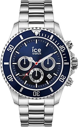 ICE-WATCH - ICE steel Marine silver Chrono - Blaue Herrenuhr mit Metallarmband - Chrono - 017672 (Large)