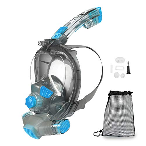 Full Face Snorkeling Mask, Foldable Scuba Diving Swimming Underwater Easy Breath Snorkel Mask with 100% Anti-Fog Dry Top Set/Support Add Mini Oxygen Tank for Youth & Adults Blue