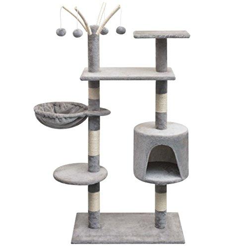 SENLUOWX krabpaal voor katten met palen krabpaal Sisal 125 cm grijs