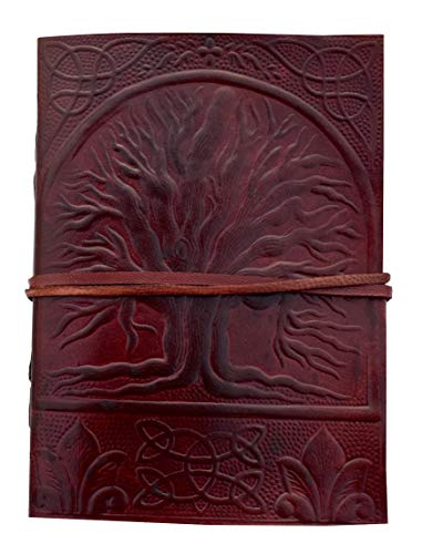 Books of Shadows Tree of Life Leather grimoire Journal Celtic Notebook Bound Unlined Pages Blank Book Wicca welsky Spell journals for Women Write Brown Embossed Diary Spells 7x5 Inch