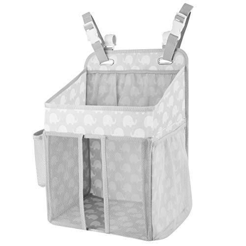 Zooawa Hanging Crib Organizer, Upgraded Large Capacity Hanging Diaper Caddy Nursery Bag Crib Diaper Organizer for Diapers Wipes Baby Essentials Storage - Bright Gray with Elephant Printing