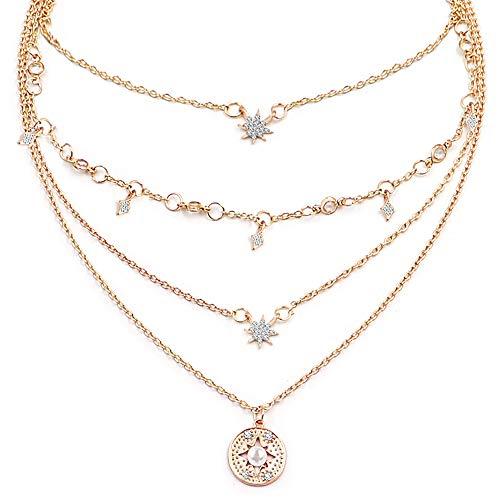 Gleamart Stars Multi-Layer Necklace Gold Choker for Women
