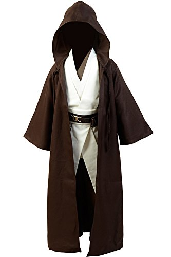 Cosplaysky Kids Outfit for Jedi Costume Tunic Hooded Robe Brown Version Medium