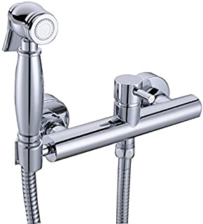 HANEBATH Brass Hot and Cold Toilet Bidet Faucet Sprayer Kit,Chrome