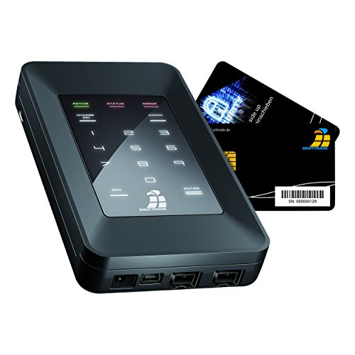 Digittrade HS256S 2TB Externe Festplatte (6,35 cm (2,5 Zoll) USB 2.0) mit 256-Bit AES Hardware-Verschlüsselung, Smartcard und PIN schwarz