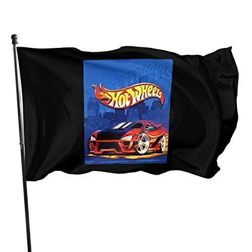 Oaqueen Bandera de jardín Hot Wheels 3x5 Ft Outdoor Bandera de jardíns House Bandera Decoration Bandera