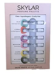 Sampler of all six of Skylar's unisex, signature scents Set includes one .05 oz. spray sample each of Arrow, Capri, Coral, Isle, Meadow, and Willow eau de toilette Clean, Hypoallergenic, and Cruelty-free