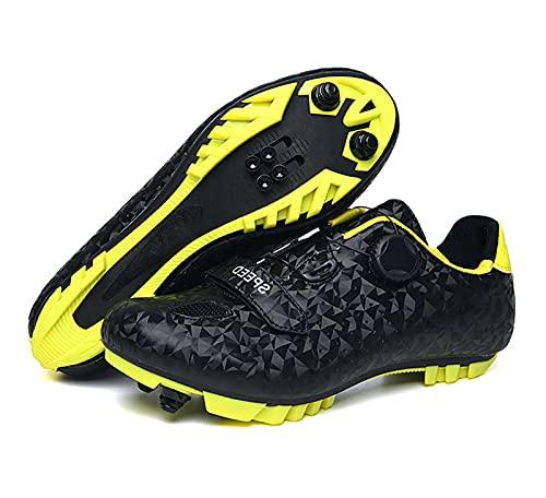 Zapatos De Bicicleta Bloqueables Unisex MTB Zapatos De Bicicleta Transpirables, Zapatos De Deportes Antideslizantes Resistentes Al Desgaste Profesional(37, Black)