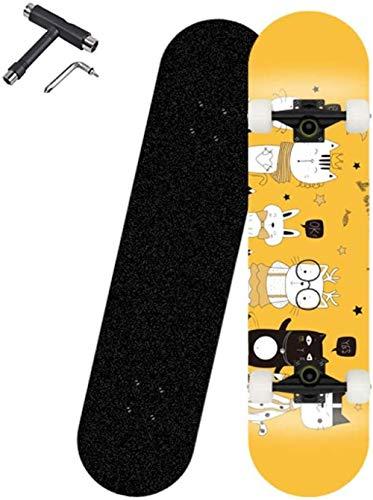 YAYY Monopatín Completo de 31,5 Pulgadas monopatín de 7 Capas de Madera de Arce ABEC-7 monopatín de rodamiento para Adultos Principiantes niños Adultos Galaxy-Gato de Dibujos Animados Upgrade