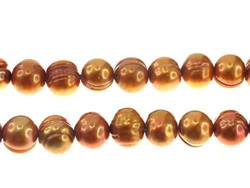 Creative-Beads zoetwaterparels streng ca. 40 cm 9-10 mm cognac, voor het zelf maken van sieraden, decoratie en knutselen